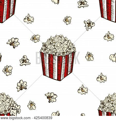 Pop Corn And French Fries Hand Drawn Seamless Pattern. Fast Food Sketch Vector Background. Food Text