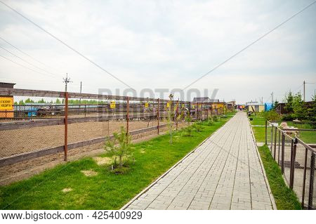 Kemerovo, Russia - 16.05.2021: Farm Animals And Birds In A Private Contact Zoo - Ostrich Ranch In Ke
