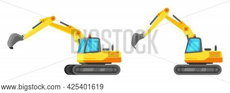 Yellow Industrial Excavator Isolated On White. Plastic Children Toy. Heavy Building Machine. Excavat