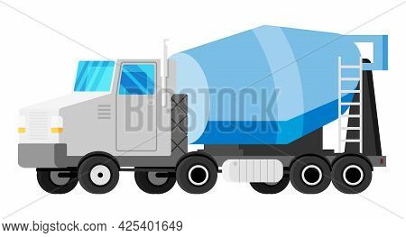 Mixer Truck Isolated On White. Modern Lorry With Mixer. Vehicle Children Toy Icon. Truck For Deliver