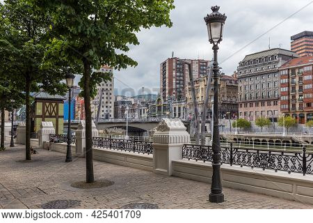 Bilbao Downtown With Nervion River And Boardwalk Area, Basque Country, Spain