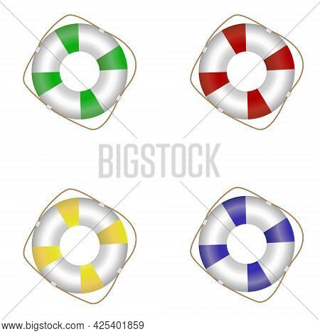 Set Of Colored Vector Lifebuoy Icons Isolated On White Background
