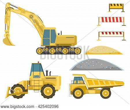 Tech Set For Building Buildings And Roads. Excavator, Bulldozer, Truck. Modern Technologies And Equi