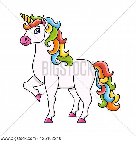 Cute Unicorn. Magic Fairy Horse. Colorful Vector Illustration. Cartoon Style. Isolated On White Back
