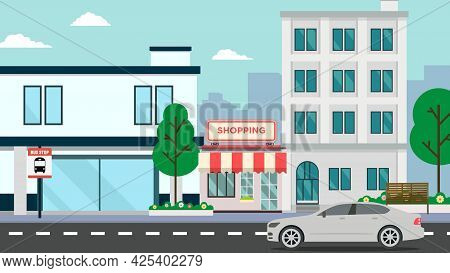Flat Building Shopping Street  With Car.vector Illustration.cityscape And Public Park.shop Facade On