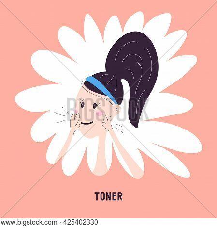 Woman Applying Moisturizing Toner To Face Skin, Icon Isolated On Background. Vector Illustration Abo