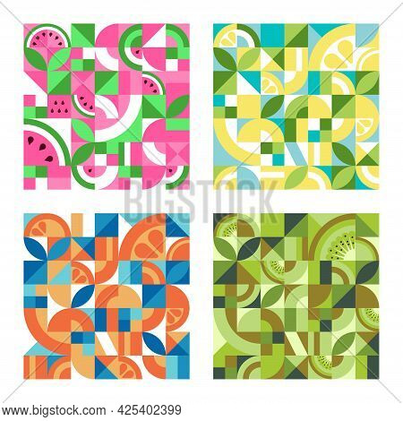 Set Of Colorful Geometric Textures With Fruits In The Bauhaus Style. Abstract Vector Background With