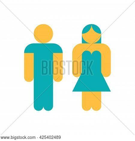 Male And Female Gender Profile Symbol. Toilet, Restroom, Washroom, Lavatory, Closet, Wc, Bathroom Pi