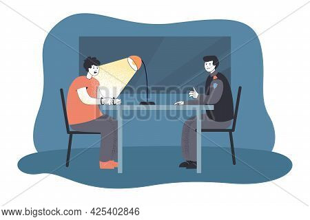 Investigator Interrogating Suspected Criminal. Flat Vector Illustration. Uniformed Policeman, Suspec