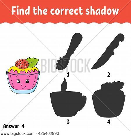 Find The Correct Shadow. Education Developing Worksheet. Matching Game For Kids. Activity Page. Puzz