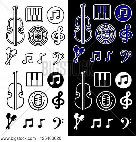 Vector Illustration Of Music Icons. Isolated Image Of Musical Symbols.