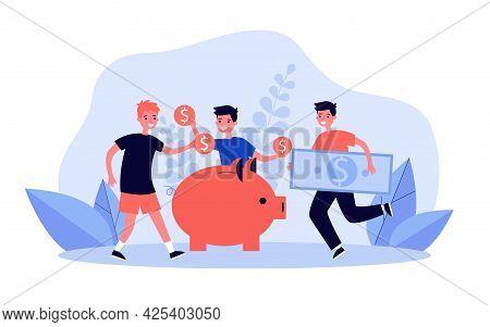 Children Putting Coins And Banknotes Into Piggybank. Cartoon Boys Saving Money In Moneybox Flat Vect