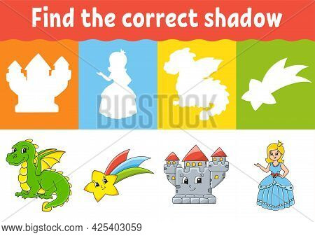 Find The Correct Shadow. Education Worksheet. Matching Game For Kids. Fairytale Theme. Color Activit