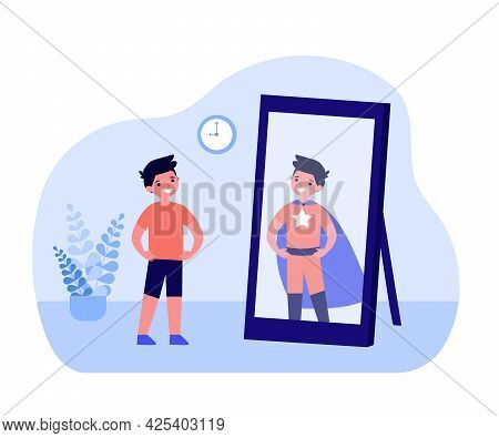 Smiling Boy Looking In Mirror And Seeing Superhero. Kid Standing In Front Of Mirror, Child In Superh
