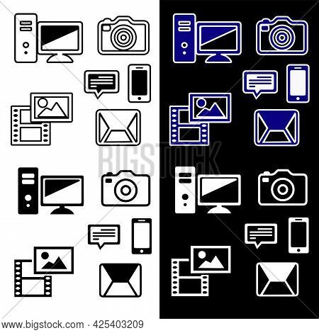 Vector Illustration Of A Set Of Equipment Icons. Isolated Image Of Computer, Mail, Phone, Chat, Came
