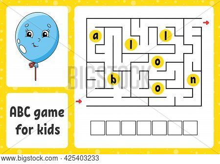Abc Maze For Kids. Rectangle Labyrinth. Activity Worksheet. Puzzle For Children. Cartoon Style. Logi