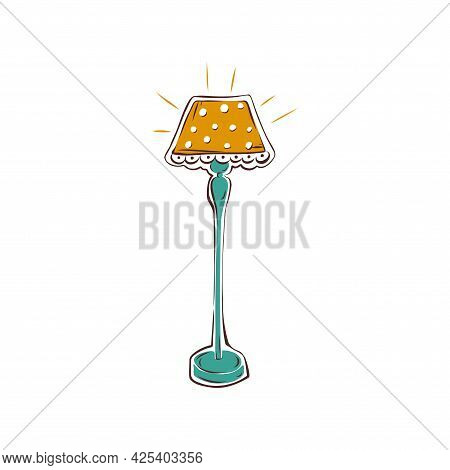 Floor Lamp Hand-drawn Illustration On A White Background. Icon. Vector.