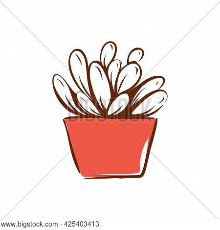 Cactus In A Pot Hand-drawn Illustration. Home Decor. Vector.
