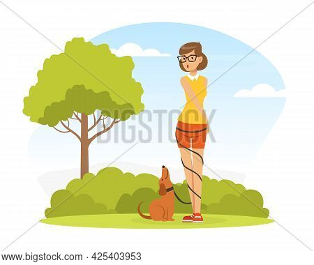 Woman Pet Owner Walking Her Dog On Green Lawn With Leash Twisted Around Her Body Vector Illustration