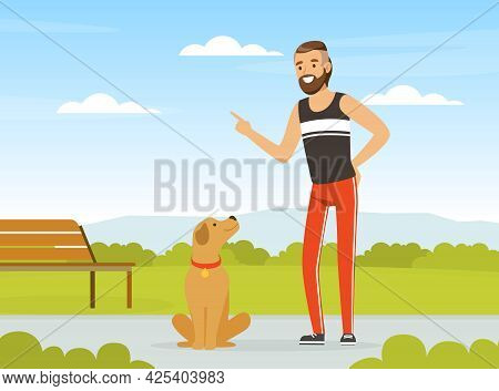 Bearded Man Pet Owner Giving Command To His Dog Vector Illustration