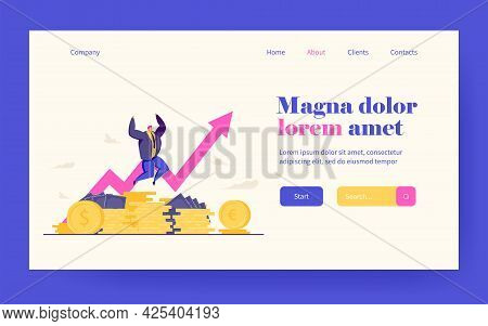 Millionaire Happy About Income Growth. Broker Celebrating Stock Shares Climbed. Vector Illustration