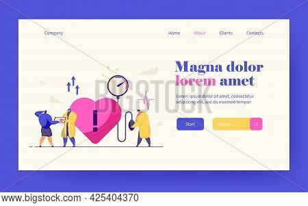 Tiny Doctors Treating Heart Disease. Medical Checkup, High Blood Pressure, Cardiology Flat Vector Il