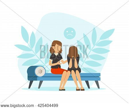 Woman At Appointment With Psychologist Sitting On Couch With Bend Head And Crying Vector Illustratio