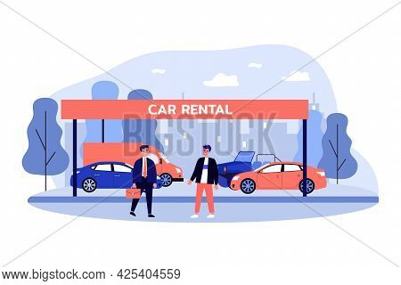 Salesman And Customer Standing In Front Of Different Cars. Male Character Making Deal, Selling Vehic
