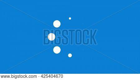 Image of digital interface loading circles flashing on blue background. technology, computing and digital interface concept digitally generated image.