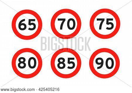 Speed Limit 65, 70, 75, 80, 85, 90 Round Road Traffic Icon Sign Flat Style Design Vector Illustratio