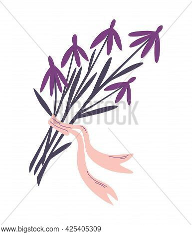 Magic Herbs For Witchcraft. Bouquet Of Wildflowers. Flowers With A Bow. Herb And Plant. Herbarium, W