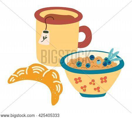Healthy Breakfast. Mug Of Tea, Porridge With Berries And A Croissant. Classical Menu With Muesli. Co