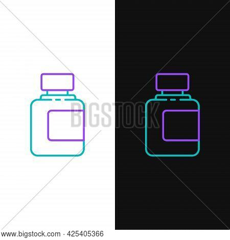 Line Sauce Bottle Icon Isolated On White And Black Background. Ketchup, Mustard And Mayonnaise Bottl