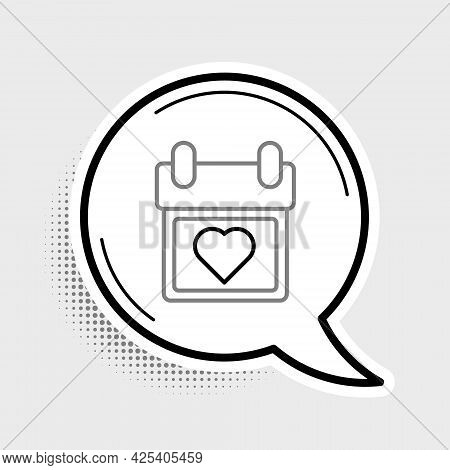 Line Calendar With Heart Icon Isolated On Grey Background. Valentines Day. Love Symbol. February 14.