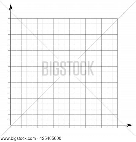 Grid Paper. Mathematical Graph. Cartesian Coordinate System With X-axis, Y-axis. Squared Background