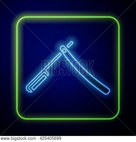 Glowing Neon Straight Razor Icon Isolated On Blue Background. Barbershop Symbol. Vector Illustration