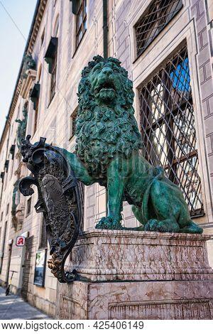 Munich, Germany - Jul 27, 2020: Bavarian Lion Statue At Munich Alte Residenz Palace In Odeonplatz. M