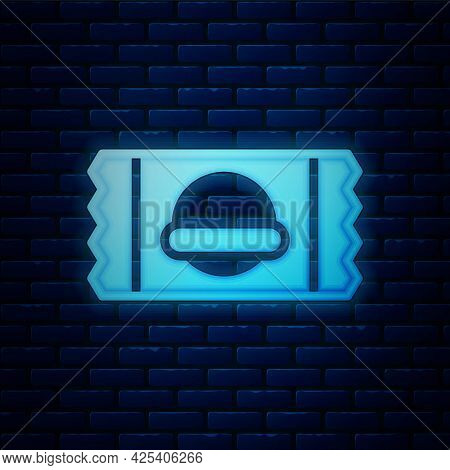 Glowing Neon Sports Nutrition Bodybuilding Proteine Power Drink And Food Icon Isolated On Brick Wall