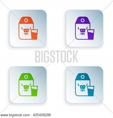 Color Paper Package For Milk And Glass Icon Isolated On White Background. Milk Packet Sign. Set Colo