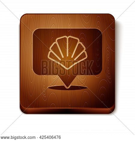 Brown Scallop Sea Shell Icon Isolated On White Background. Seashell Sign. Wooden Square Button. Vect