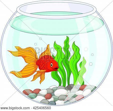 Vector Illustration Of Cartoon Goldfish Swimming In Fishbowl