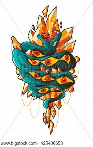 Tattoo Art With Snake With Pattern Of Eyes On Skin And Orange Crystals. Vector Abstract Flat Illustr
