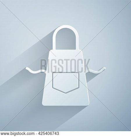 Paper Cut Kitchen Apron Icon Isolated On Grey Background. Chef Uniform For Cooking. Paper Art Style.