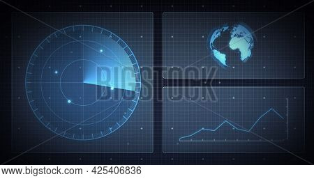 Image of scope scanning, globe and data processing on screens over grid. digital interface and global connection concept digitally generated image.