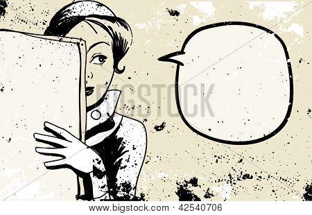 retro woman peeking, speech bubble, holding blank newspaper