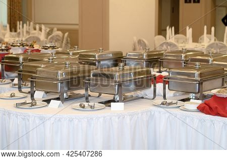 Catering Prepared Closed Food In A Large Banquet Hall