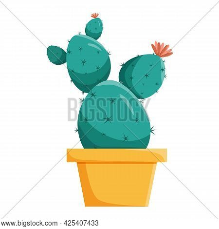 Green Cactus In An Oval Or Round Pot. Home Plant With Thorns And Thorns. Vector Illustration In Flat