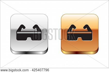 Black Safety Goggle Glasses Icon Isolated On White Background. Silver-gold Square Button. Vector