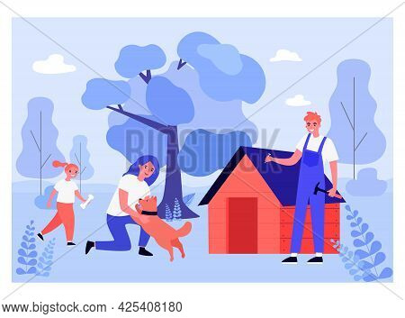 Carpenter Making Doghouse For Domestic Animal Outside. Mother Playing With Dog, Daughter With Bone,