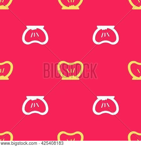 Yellow Bicycle Punctured Tire Icon Isolated Seamless Pattern On Red Background. Bike Race. Wheel Tir